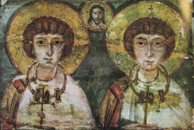 Saints Serge and Bacchus being united by Christ